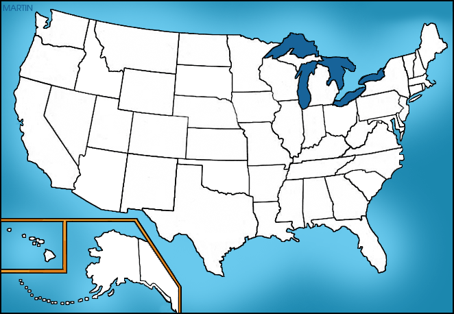White Map of the USA